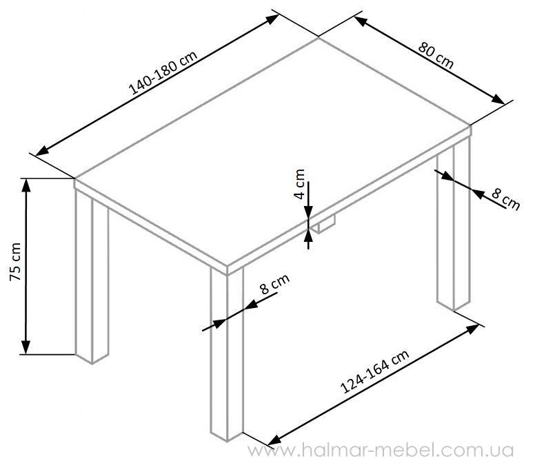 RONALD стол обеденный  140-180х80 белый