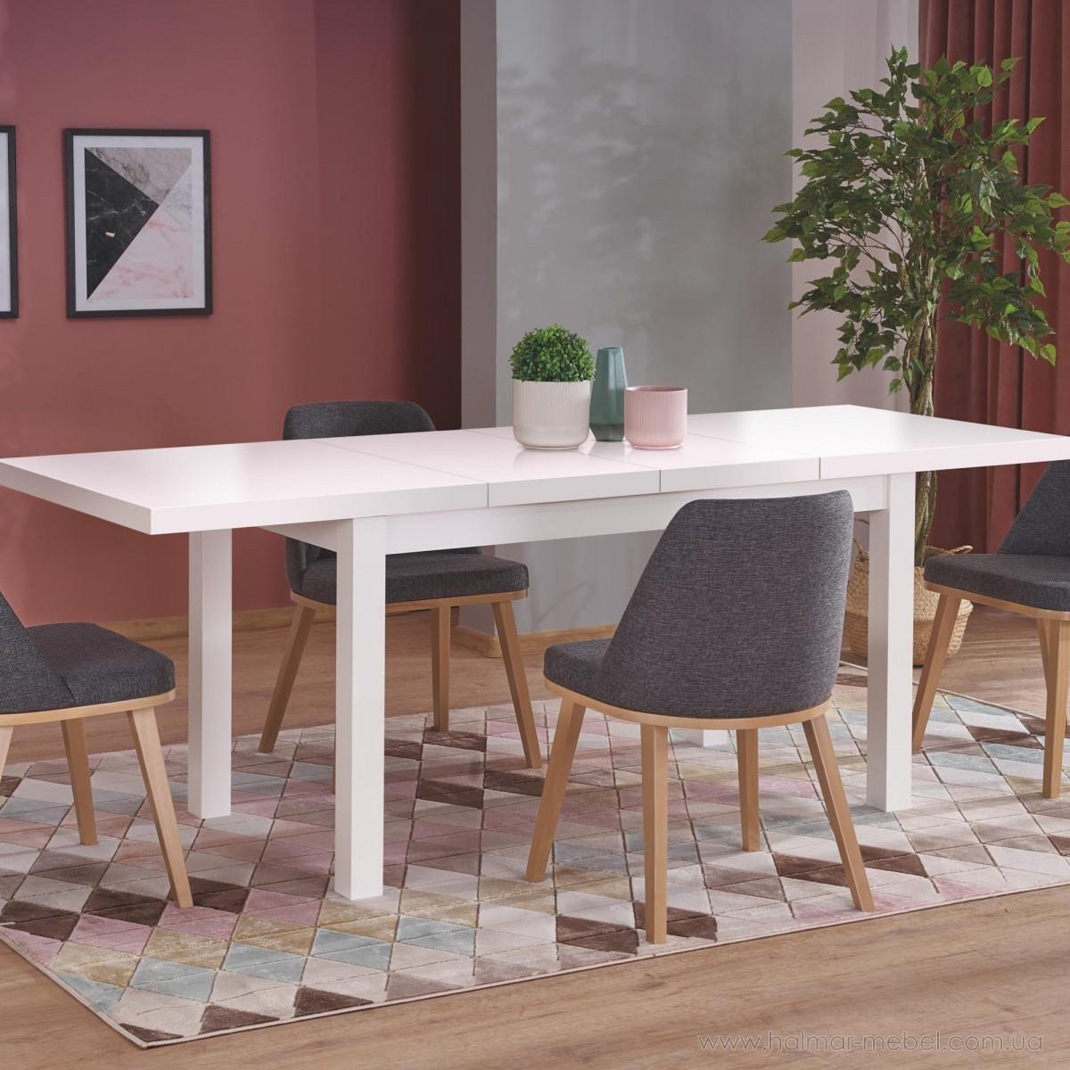 Стол обеденный раскладной TIAGO-2 HALMAR белый