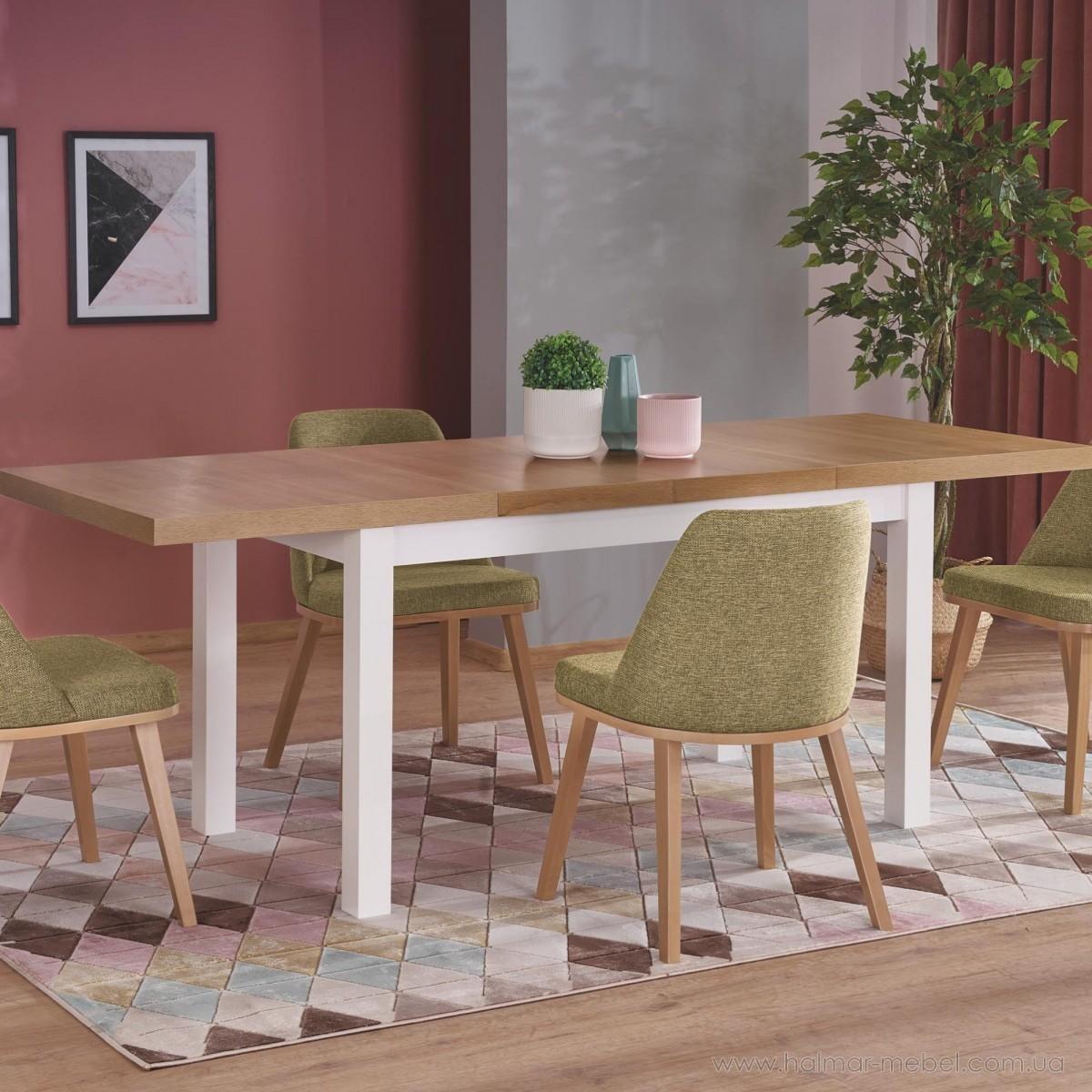 Стол обеденный раскладной TIAGO-2 HALMAR pивьера дуб/белый