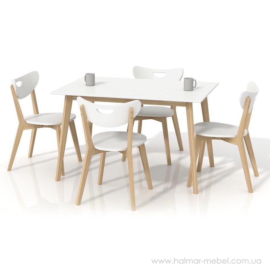 Комплект обеденный HALMAR LORRITA и стулья PEPPI (белый)